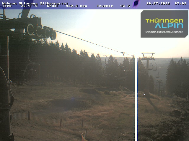 Blick von der Bergstation auf den Skihang am Ochsenkopf